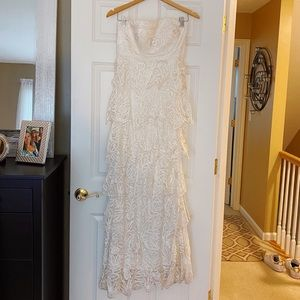 Sue Wong beaded and sequin detailed lace dress